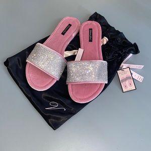 Victoria's Secret Pink Rhinestone Slipper Slides